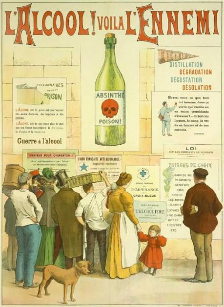 """Alcool ! Voilà l'ennemi."" Poster by French painter Frédéric Christol (1850-1933) - Domain: wiki commons"
