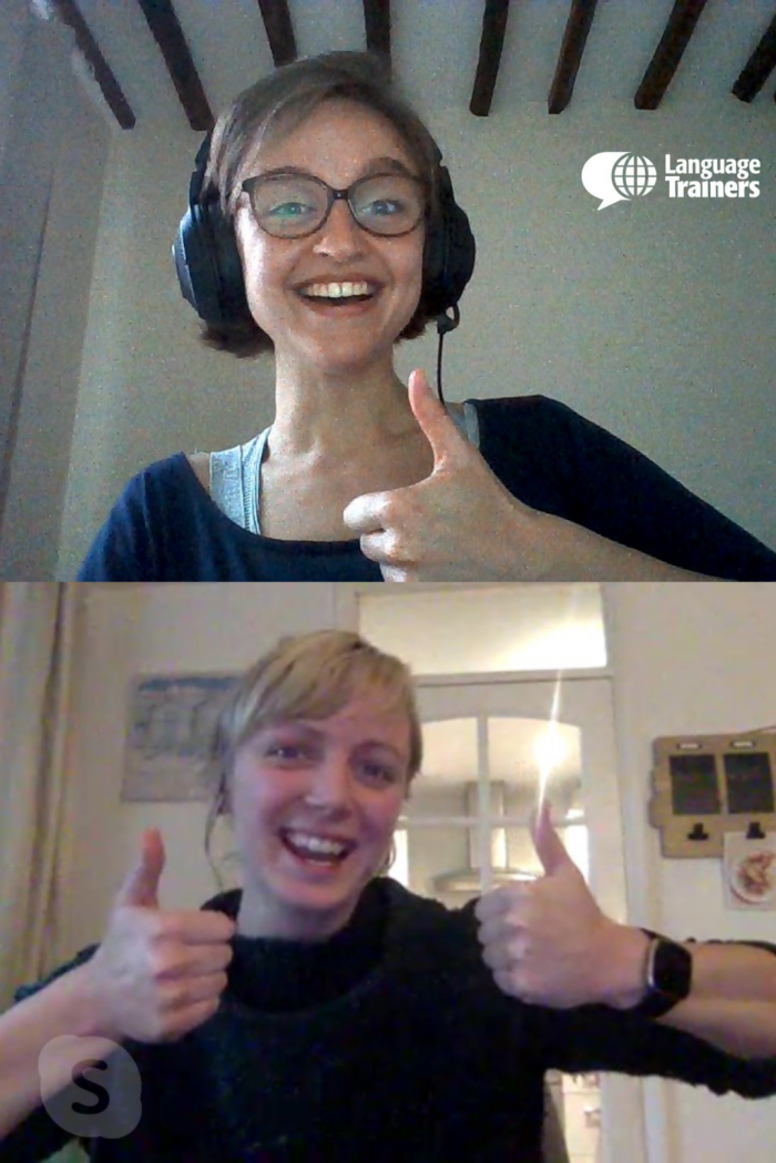 Julie, one of our French tutors, and her student in an online course.