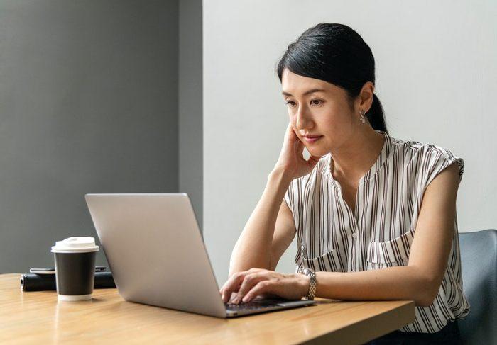 Japanese woman working