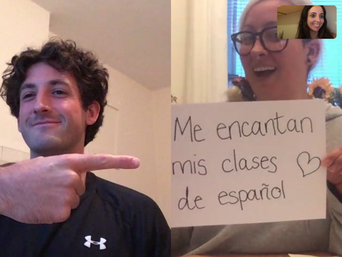 Our Spanish teacher, Cecilia, and her two students at an online lesson.